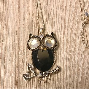 Jewelry - Large vintage look owl pendant long necklace